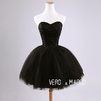 Black sweetheart neckline  above knee-length beaded ruched lace tulle satin plus size short prom bridesmaid dress homecoming dress ET283