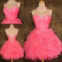 Pink mini flowers prom dress / homecoming dress