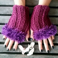 Fingerless Glove,Handmade,Damson Color,Knitted Glove,Hand Warmer,Women's Fashion,Winter Glove,Crochet,Women's Glove,Crochet Glove,Gift Ideas