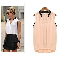 Pleated Sleeveless Chiffon Blouse