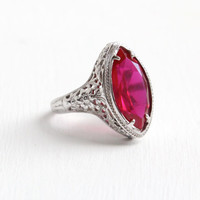 Antique 10k White Gold Art Deco Filigree Synthetic Marquise Ruby Ring- Size 5 1/4 Vintage 1920s 1930s Pink Stone Fine Jewelry