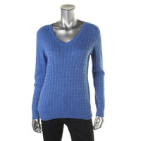 Karen Scott Womens Cale Knit V-Neck Pullover Sweater