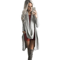 Elegant Gray Cardigan Knitted Sweater Women Autumn Winter 2016 Scarf Long Knitwear Outwear Casual Thick Jumper Basic Pull Femme