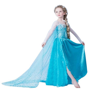 2015 New Christmas Girls Dress Long-Sleeve Winter Anna Elsa Dresses Kids Clothes Children's Clothing Party Snow Queen Costume