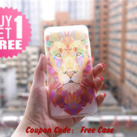 Lion Face Clear Phone Case Cover , Crystal Clear iPhone 6 6s Case , Custom Clear iPhone 6 6s Case , Cool iPhone Case , Transparent Case