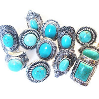 Turquoise Ring Boho Adjustable Bohemian Jewelry Women's Hipster Ring Hippie Turquoise Jewelry Tumblr Style