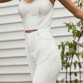 UO Cut-Out Denim Bustier Jumpsuit | Urban Outfitters