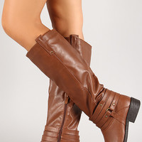 Leatherette Strappy Harness Knee High Boot
