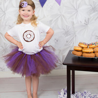 Girls Birthday Tutu Set | First Birthday Outfit | Donut Tutu Set | Donut Hairbow | Donut Headband | Donut Applique Tops | Girls Clothing