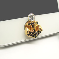 1PC Bling Crystal Anchor iPhone Home Button Sticker Charm for iPhone 4,4s,4g,5,5c Cell Phone Charm Friend Gift