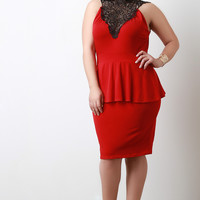 Crochet Neckline Knit Peplum Dress