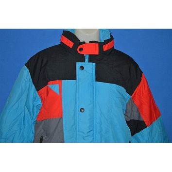 90s Color Block Turquoise And Black Ski Jacket Youth Sz 14