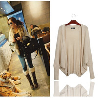 batwing sleeve sweater outerwear cardigan knitting, loose sweater cardigan for women MH2094MY (Size: M) = 1946238852