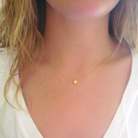 Tiny Star Necklace - Matte 14k Gold Plated Star Charm on Gold Delicate Chain with Mint Faceted Bead (also Silver tone available)