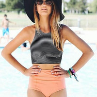 Women Bikinis Set Retro Bathing Suit Swimsuit Summer Vest