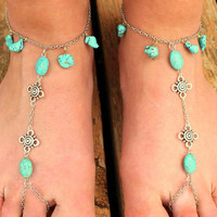 Chain Barefoot Sandals // Turquoise Beading // Wedding Shoes // Beach Attire // Gift // Statement // Chic // Hoop Shoes // Jewellery