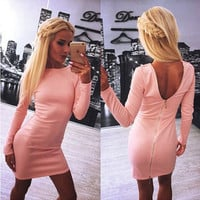 Sexy Backless Long Sleeve Zipper Solid One Piece Dress a12145
