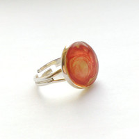 Eco Jewelry Resin Ring-Handpainted Ring-Red-Golden-Clear Transparent Resin Ring-Eco Friendly Jewelry-Love Anniversary Holiday Birthday Gift