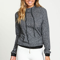 Dark Marled Knit Hooded Pullover Sweater