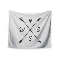 """Draper """"Cardinal Direction A"""" White Illustration Wall Tapestry"""