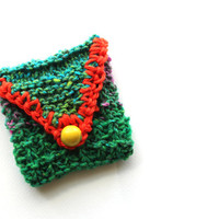 Knit pouch, coin purse, card pouch, fetish bag, coin pouch, cosmetic bag, accessory case, makeup bag, ID card holder