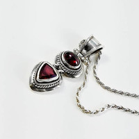 """Ruby Pendant - Hinged Sterling Pendant Necklace - 16"""" Sterling Rope Chain Necklace - Vintage Ruby Pendant - Two Stone Pendant"""