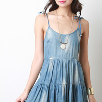 Acid Wash Chambray Tie Strap Dress