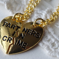 2- Partners in Crime Necklaces Best Friends Connect Pull Apart Half Two Necklaces Maid of Honor Gifts Under Twenty Dollars Finished Necklace