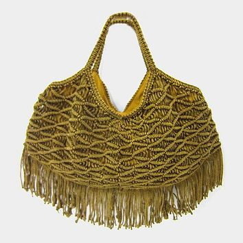 Crochet Knit Handle Tassel Trimmed Tote Bag (Click For More Colors)
