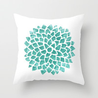 Teal Ice Throw Pillow by Color And Form | Society6