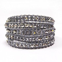 Grey Leather Crystal Beads | Chan Luu Style Wrap Bracelet