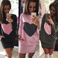 CASUAL LOVE POCKET STITCHING WOMEN DRESSES