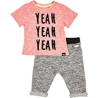 River Island Mini boys red yeah top and jogger outfit