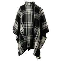 Lauren Ralph Lauren Womens Wool Plaid Cape Sweater