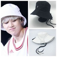 Mainlead KPOP BTS SUGA Casual Wide brimmed hat Bangtan Boys Shoelace Fisherman's hat