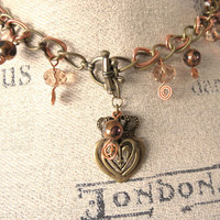 Fleur De Lis Heart Necklace by SirensAllure on Etsy