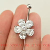 crystal flower Belly Button jewelry, Navel Jewelry, belly button ring,girlfriend gift,summer jewelry,oceantime