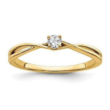 14k Yellow Gold Diamond Solitaire Petite 0.115 CT Promise Ring