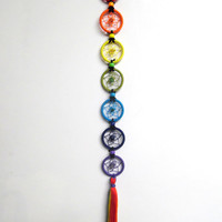 Chakra Alignment Dream Catcher with Rainbow Tassel and Chakra Stones