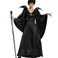 Movie Maleficent Costume Adult Women Halloween Witch Cosplay Fairy Tale Sleeping Beauty Curse Witchcraft Black Dress Horns