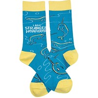 I Am Strange And Wonderful Narwhal Socks in Blue and Yellow