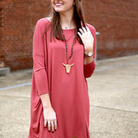 Piko dress 3/4 sleeve - marsala