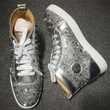 DCCK2 Cl Christian Louboutin Rhinestone Style #1955 Sneakers Fashion Shoes