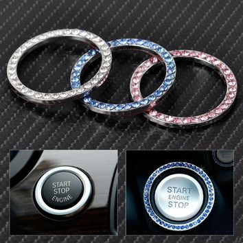 New Car Interior One-Key Engine Start Stop Ignition Push Button Decorative Diamante Ring for Mercedes Benz BMW Audi A4 Cadillac