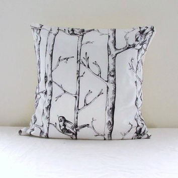 Tree cushion cover, cotton pillow cover, woodland print with birds, 16 inch 40 cms cushion, natural decor, handmade in the UK