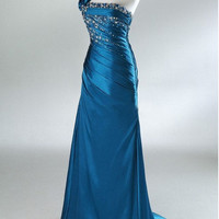 New Arrival Sheath One-shoulder Sweep Train Satin Pleated Beading Fashion Long Bridesmaid/Evening/Party/Homecoming/Prom/Formal Dresses 2013