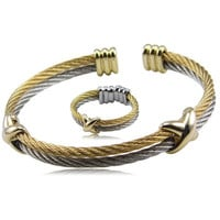 Twisted Cable Bracelet Stainless Steel Silver Gold Cross Charm Open Cuff Cable Wire Bracelet and Ring Set Pulseras Jewelry Set