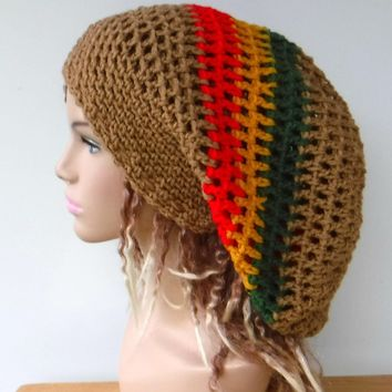 Dread hat, dreadlocks beanie brown or black rasta tam hat, man or woman Jamaica slouchy hat