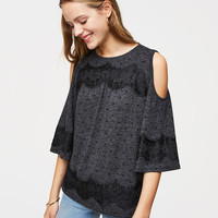 Lacy Dotted Cold Shoulder Tee | LOFT