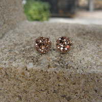 Earrings Rose Gold Druzy Stud Earrings Boho Jewelry 8MM